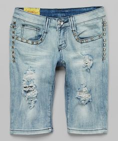 This Light Blue Studded Distressed Bermuda Denim Shorts by Machine Jeans Inc. is perfect! #zulilyfinds