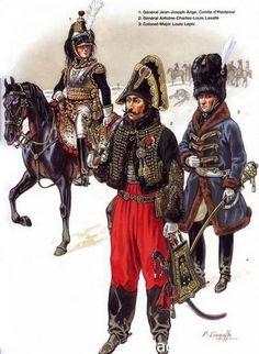 1-Général Comte Jean Joseph Ange d'Hautpoul. 2-Général Antoine Charles Louis Lasalle. 3-Colonel-Major Louis Lepic.