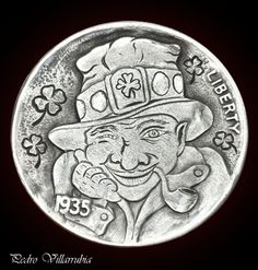 "Hobo Nickel 1935 Full Horn - "" Irish Luck "" by Pedro Villarrubia Luck Of The Irish, Irish Luck, Hobo Nickel, Horns, Buffalo, Cactus, Money, Ebay, Dibujo"
