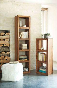 Libreria moderna alta e stretta marrone ciliegio con 5 ripiani ...