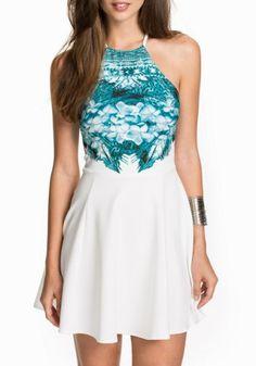 Stylish Round Neck Sleeveless Floral Print A Line Women's DressSummer Dresses | RoseGal.com