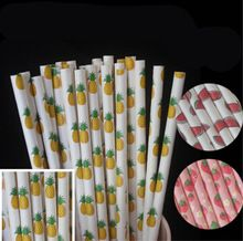 25 unids/lote Frutas piña fresa Paja de Papel para el cumpleaños boda decorativo fuentes del partido Creativo Pajas de Beber E267(China (Mainland))