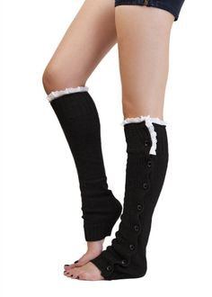 Retail leg warmers for women Button Down Boot Cuffs lace trim gaiters Boot Socks Crochet Leg Warmers Knit Leg Warmers