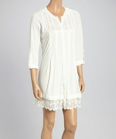 Look at this #zulilyfind! Off-White Lace Hooded Dress by MONORENO by Mür #zulilyfinds