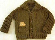 Patrones de Tejido Gratis - Suéter verde para un niño, manga acanalada
