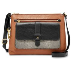 Fossil  Kinley Crossbody (48 KWD) ❤ liked on Polyvore featuring bags, handbags, shoulder bags, neutral multi, leather shoulder handbags, genuine leather shoulder bag, cross-body handbag, crossbody purses and genuine leather purse