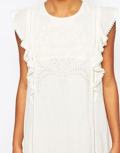 Image 3 ofMoon River Embroidered Shift Dress with Ruffle