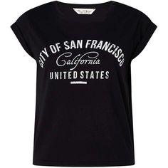 Miss Selfridge California Slogan Tee ($32) ❤ liked on Polyvore featuring tops, t-shirts, black, short sleeve cotton tops, miss selfridge, slogan t shirts, fitted tops and pattern tops