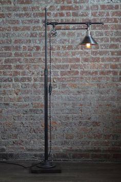 Industrial Standing Lamp – Reading Floor Lamp – Pipe Lamp – Steel Shade – Industrial Furniture - All For House İdeas Lampe Industrial, Industrial Floor Lamps, Industrial Lighting, Industrial Style, Vintage Industrial Furniture, Industrial Metal, Modern Lighting, Lighting Design, Edison Lampe
