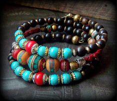 Nepalese Beaded Bolo Leather Gypsy, Tribal Prayer Bead Wrap Charm Bracelet YuccaBloom