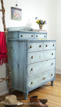 Side View of Dixie Belle's Painted Dresser with Faded Denim Finish - Easy Step by Step Tutorial Included! | by Denise at Salvaged Inspirations #paintedfurniture #furnituremakeover #dixiebellepaint #chalkmineralpaint #siblog