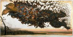 """Walton Ford  """"Falling Bough,"""" 2002  Watercolor, gouache, ink and pencil on paper, 60 3/4 x 119 1/2 inches  Private collection, Tennessee"""