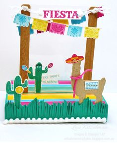 With a bow on top: Freestanding pop up Fiesta card