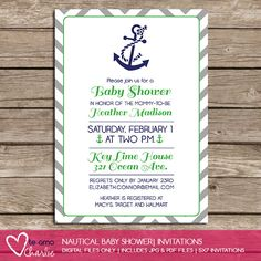 Nautical Baby Shower Invitations - Anchor Chevron Printable Invitations on Etsy, $6.00