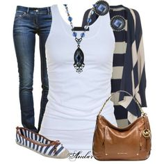 Blue, brown & white