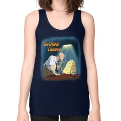 "WordPlay ""Grilled Cheese"" Unisex Fine Jersey Tank (on woman) designed by Neal Fox & Ron Kule"