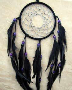 °Black Sun ~ DreamCatcher Large Black & Purple by peacefrogdesigns