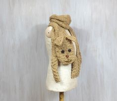 Beige dog — animal scarf, funny doggie, puppy, original scarf, winter accessory, warm scarf, knitted, for animal lovers - pinned by pin4etsy.com