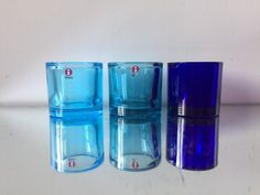 3 Kivi iittala candle holders 1988 in BLUE colors Marimekko, Green Candle Holders, Blue Colors, Surprise Gifts, Different Colors, Shot Glass, Conditioner, Candles, Sculpture