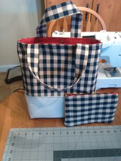 Tote with matching purse. Both red lined.
