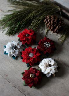 poinsettia brooches by lilfishstudios, via Flickr