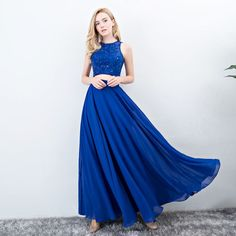 2 Stuk Donkerblauwe Galajurken 2017 A lijn Ronde Hals Mouwloos Lange Ruche Chiffon Gelegenheid Jurken Gala Dresses, Prom Party Dresses, Evening Dresses, Formal Dresses, Beautiful Dresses, Cool Outfits, Dream Wedding, Glamour, Chiffon