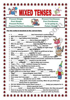 Put the verbs in brackets in the correct tense: Present Simple, Present Continuous, Past Simple, Past Continuous, Present Perfect, Present Perfect Continuous, Future Simple or to be going to. KEY IS INCLUDED!!!!
