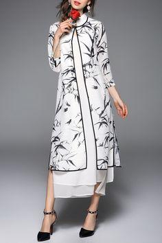 Bamboo Print Cardigan and Mandarin Collar Dress Twinset