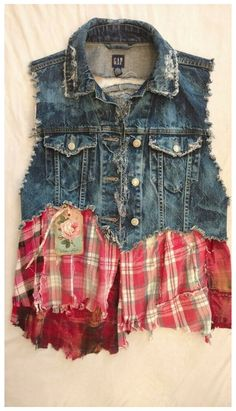 #jean #vest #diy UpCycled S Gap Jean Vest Cotton Denim Jacket Flannel Shirt Rips Bleached tmyers #GapUpcycledandEmbellishedbyMe #Vest #Casual Bleached Denim Jacket, Altered Couture, Shirt Refashion, Altering Clothes, Recycled Denim, Denim Fashion, Diy Clothes, Jean Vest, Vintage Outfits