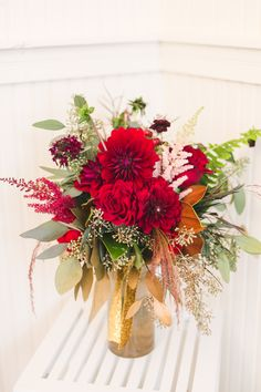 Gorgeous Red and Gold Bridesmaid Bouquet | Sur La Lune Photography | See More! http://heyweddinglady.com/twenties-style-meets-boho-glam-wedd...