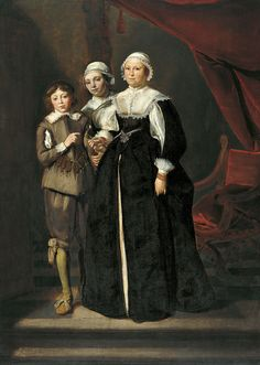 - Portrait of Two Women and a Boy. 1632 Oil on panel x cm Museo Thyssen-Bornemisza, Madrid 17th Century Clothing, 17th Century Fashion, Baroque Painting, Patterns Of Fashion, Dutch Golden Age, Historical Women, Dutch Painters, Baroque Fashion, Renaissance Art