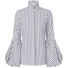 Caroline Constas Women's Jaqueline Striped Blouson Sleeve Shirt ($395) ❤ liked on Polyvore featuring tops, cotton shirts, long-sleeve shirt, striped sleeve shirt, black and white long sleeve shirt and striped shirt