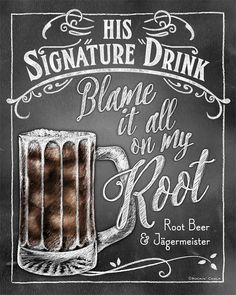 His Signature Drink Sign   Chalkboard style Prints by RockinChalk