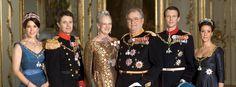 The Danish Monarchy: Couples: (Centre) Queen Margarethe & Prince Henrik, (L) Crown Prince Frederik & Crown Princess Mary, (R) Prince Joacim & Princess Marie