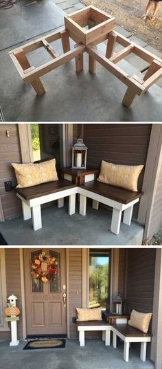 DIY Corner Bench With Built-in Table {consider building in 3 separable parts & adding latch systems to allow disassembly}