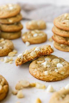 White Chocolate Macadamia Nut Cookies - Kim's Cravings Best White Chocolate, White Chocolate Macadamia, White Chocolate Chips, Chocolate Chip Cookies, Sugar Cookies Recipe, No Bake Cookies, Cookie Recipes, Macadamia Nut Cookies, Cookie Monster
