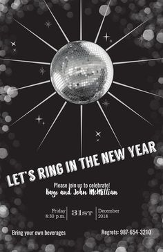 Disco Ball New Year Invitation Holiday Party Invitations, Throw A Party, Disco Ball, Address Labels, Holiday Parties, Party Planning, Seasons, Let It Be, Seasons Of The Year