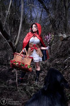"""Looking into the mythology, I was intrigued to find that the story of """"Little Red Riding Hood"""", dating back to its earliest written incarnation by Charles Perrault in 1697, is basically about sexual awakening.    Doesn't take much Freudian study to figure it out, really: young and pure, covered in her protective red cloak, all alone in the dangerous woods being stalked by the ravenous, predatory wolf."""