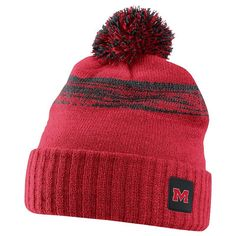 Adult Nike Ole Miss Rebels Striped Knit Beanie, Red