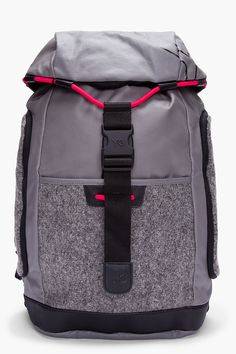 Y-3 Grey Coated Canvas Bungee Backpack