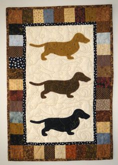 Dachshunds  Quilted Dog Wall Hanging 18 x 27 by doodlebugquilts