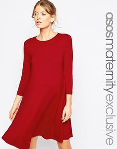 ASOS Maternity Seamed Swing Dress With 3/4 Sleeve