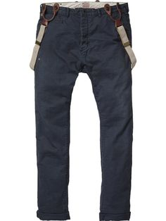 Morrisson - Anti-fitted drop crotch chino with suspenders - Pants - Scotch & Soda Online Shop