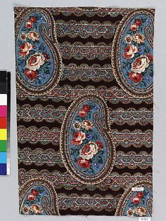 1840 Culture: French (Mulhausen) Medium: Cotton Dimensions: No dimensions recorded. Classification: Textiles-Printed Credit Line: Gift of F. Schaetzel, 1919 Accession Number: Not on view Vintage Textiles, Antique Prints, Textile Patterns, Textile Prints, Victorian Fabric, Textile News, Century Textiles, Fabric Ribbon, Paisley Pattern