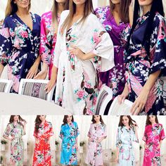 RB001 Phụ Nữ Robe Sexy Wedding Gown Silk Robes Cho Phù Dâu Áo Ngủ Ngủ Nightdress Satin Áo Choàng Tắm Hoàng Gia Floral Kimono
