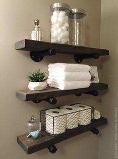 Bathroom Organisation, Home Organization, Bathroom Shelf Decor, Floating Shelves Bathroom, Organizing, Bathroom Towels, Bathroom Wall, Bathroom Storage, Wall Decor