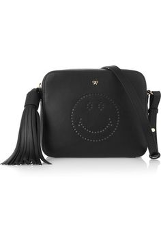 Anya Hindmarch | Smiley perforated leather shoulder bag | NET-A-PORTER.COM