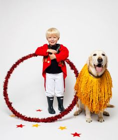 Halloween Costume Idea: Boy and dog in lion tamer. LOVE this!