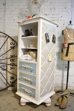 Shabby Chic Dresser Painted Cottage Chic Romantic French Dresser Armoire Lingeri in Home & Garden, Furniture, Dressers & Chests of Drawers | eBay