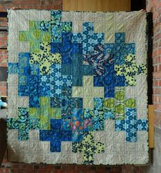 "shecanquilt - Giant Plus - blogged: www.shecanquilt.blogspot.ca/2013/12/giant-plus-ta-da.html Amy Butler fabrics and a Three Sisters Paris map print. She is 55"" x 61""."